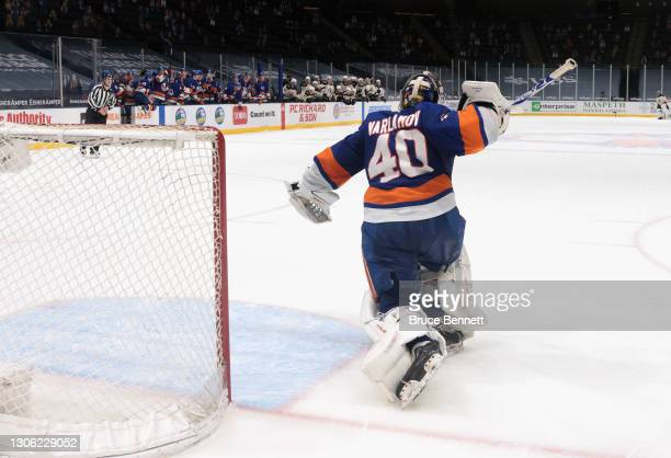 Semyon Varlamov of the New York Islanders celebrates the shootout win against the Boston Bruins at the Nassau Coliseum on March 09, 2021 in...