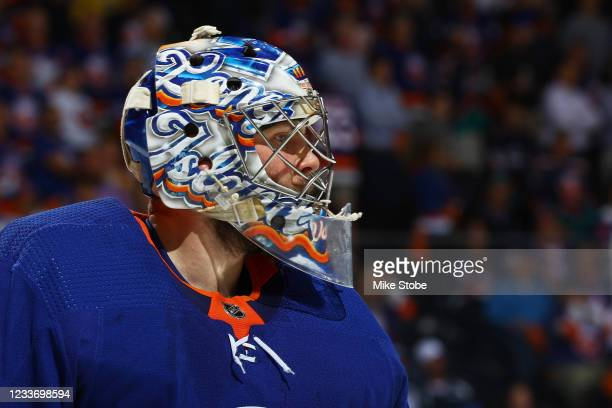 Semyon Varlamov of the New York Islanders in action against the Tampa Bay Lightning in Game Six of the Stanley Cup Semifinals of the 2021 Stanley Cup...
