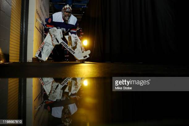 Semyon Varlamov of the New York Islanders prepares to take the ice for warmups prior to the game against the Dallas Stars at Barclays Center on...