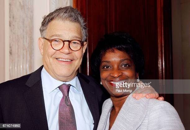 Sen Al Franken and FCC Commissioner Mignon Clyburn attend the Media Solutions Summit at Russell Senate Office Building on April 27 2017 in Washington...