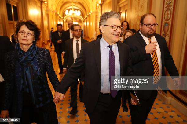 Sen Al Franken and his wife Franni Bryson arrive at the US Capitol Building December 7 2017 in Washington DC Franken announced that he will be...