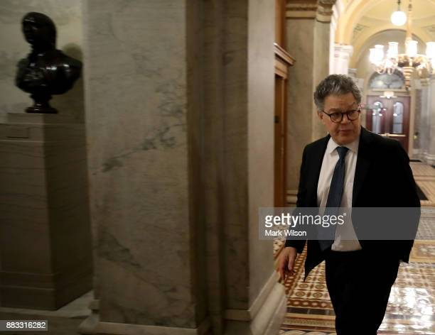 S Sen Al Franken arrives to cast a vote in the Senate Chamber inside of the US Capitol building November 30 2017 in Washington DC Senate Republicans...