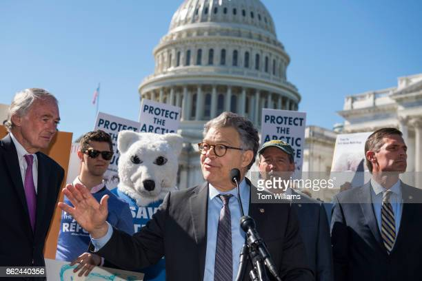 Sen Al Franken DMinn speaks during a news conference with Democratic senators and environmental groups on the east lawn of the Capitol to oppose oil...