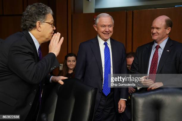 Sen Al Franken jokes with US Attorney General Jeff Sessions and Sen Chris Coons before a hearing of the Senate Judiciary Committee in the Hart Senate...