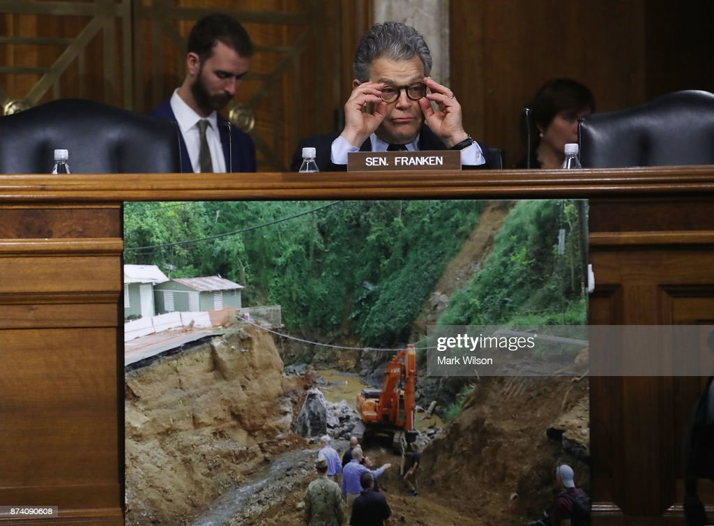 Sen. Al Franken (D-MN) listens to testimony during a Senate Energy and Natural Resources Committee hearing on hurricane recovery efforts in Puerto Rico and US Virgin Islands, on Capitol Hill November 14, 2017 in Washington, DC.