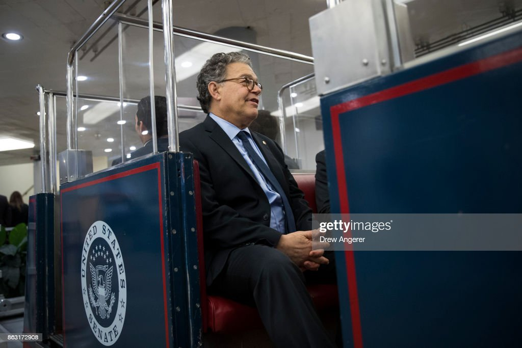 Sen. Al Franken (D-MN) rides the Senate subway on his way to a vote on amendments to the fiscal year 2018 budget resolution, on Capitol Hill, October 19, 2017 in Washington, DC. Thursday afternoon, the Senate kicked off a 'vote-a-rama;' a marathon voting session for amendments to the budget resolution.