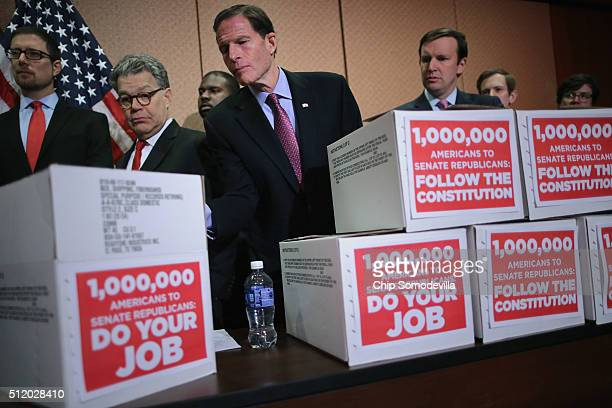 Sen Al Franken Sen Richard Blumenthal and Sen Chris Murphy participate in a rally demanding that Senate Republicans give a Supreme Court nominee a...