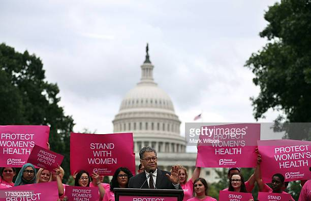 Sen Al Franken speaks during a women's prochoice rally on Capitol Hill July 11 2013 in Washington DC The rally was hosted by Planned Parenthood...