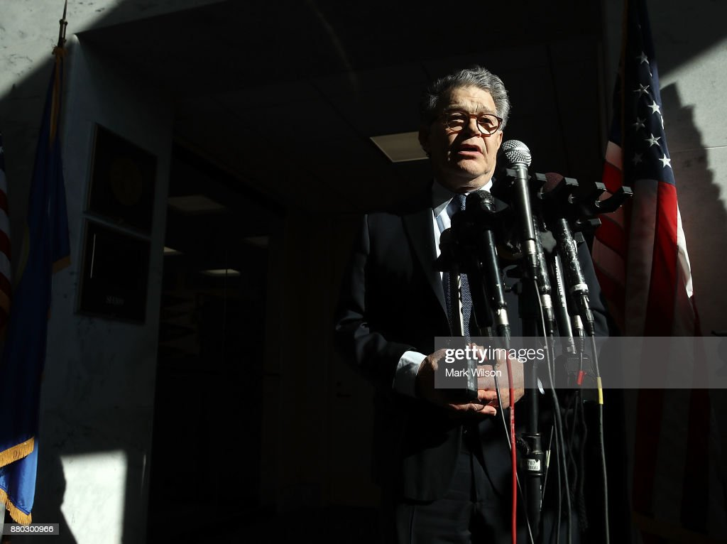 Sen. Al Franken, (D-MN) speaks to the media after returning back to work in the Senate on Capitol Hill on November 27, 2017 in Washington, DC. Franken took questions from reporters outside of his office in light of the multiple women accusing him of sexual misconduct.