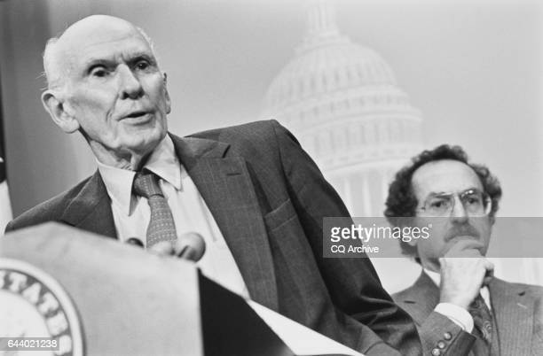 Sen Alan Cranston DCalif and Alan Dershowitz at press conference after Senate Floor remarks November 21 1991 n