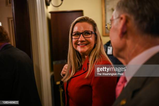 Sen Amanda Chase arrives for the State of the Commonwealth speech in the House chambers at the Capitol on Wednesday January 9 in Richmond VA