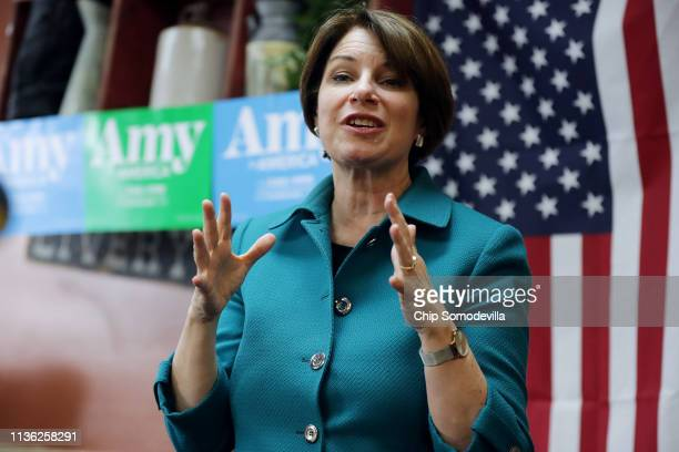 S Sen Amy Klobuchar addresses voters and answers questions while campaigning for the Democratic presidential nomination at the Pizza Ranch restaurant...