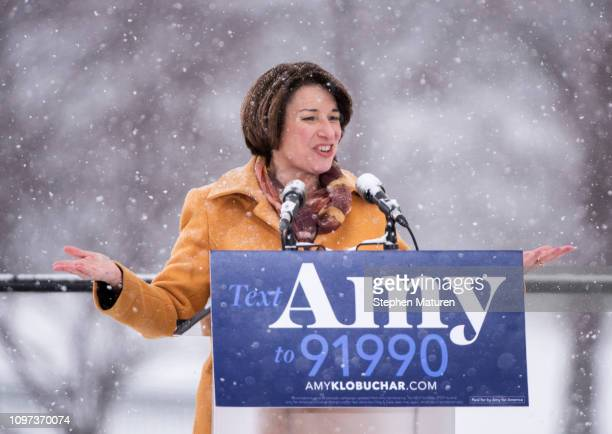 Sen Amy Klobuchar announces her presidential bid in front of a crowd gathered at Boom Island Park on February 10 2019 in Minneapolis Minnesota...
