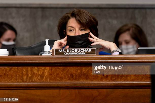 Sen. Amy Klobuchar appears at a Senate Homeland Security and Governmental Affairs and Senate Rules and Administration joint hearing on February 23,...