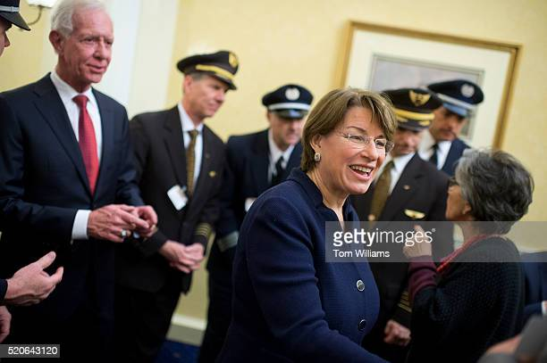 Sen Amy Klobuchar DMinn attends a news conference in the Capitol to encourage the Safe Skies Act as an amendment to the FAA reauthorization bill...