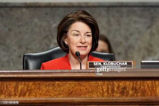 Sen. Amy Klobuchar gives her opening statement during a Senate Homeland Security and Governmental Affairs & Senate Rules and Administration joint...