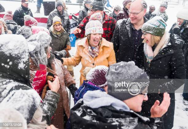 Sen Amy Klobuchar greets supporters after announcing her presidential bid at Boom Island Park on February 10 2019 in Minneapolis Minnesota Klobuchar...