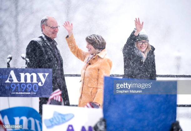Sen Amy Klobuchar is joined by her husband John Bessler and daughter Abigail Bessler after announcing her 2020 presidential bid on February 10 2019...