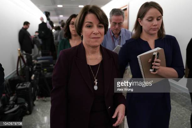 S Sen Amy Klobuchar leaves after Senate Judiciary Committee voted to approve along party lines the nomination of Judge Brett Kavanaugh to the Supreme...