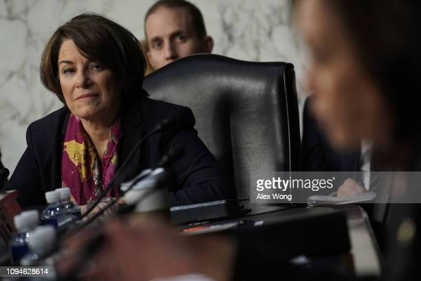 Sen Amy Klobuchar listens to testimony during the confirmation hearing of US Attorney General nominee William Barr January 15 2019 in Washington DC...