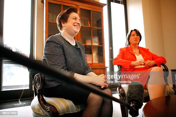 Sen Amy Klobuchar meets with US Solicitor General and Supreme Court nominee Elena Kagan in her office in the Hart Senate Office Building May 13 2010...
