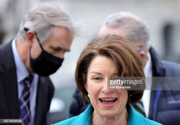 Sen. Amy Klobuchar , Sen. Jeff Merkley , and Senate Majority Leader Chuck Schumer announce the introduction of S.1., the 'For the People' Act,...