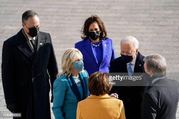 Sen. Amy Klobuchar , Sen. Roy Blunt , President-elect Joe Biden, Dr. Jill Biden, Vice President-elect Kamala Harris and Doug Emhoff arrive for the...