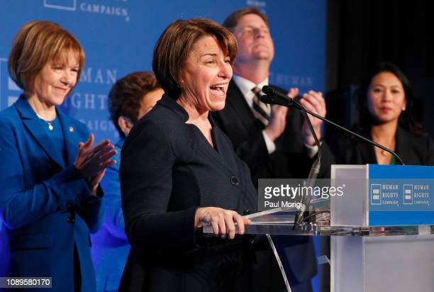 Sen Amy Klobuchar speaks at the Human Rights Campaign hosted Equality Wins reception at The Mayflower Hotel on January 03 2019 in Washington DC