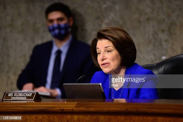 Sen. Amy Klobuchar speaks during a Senate Homeland Security and Governmental Affairs and Senate Rules and Administration joint hearing on February...