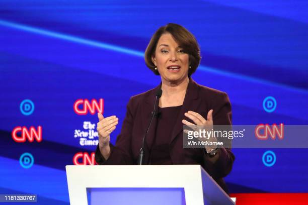 Sen Amy Klobuchar speaks during the Democratic Presidential Debate at Otterbein University on October 15 2019 in Westerville Ohio A record 12...