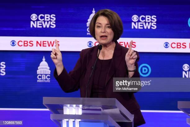 Sen Amy Klobuchar speaks during the Democratic presidential primary debate at the Charleston Gaillard Center on February 25 2020 in Charleston South...