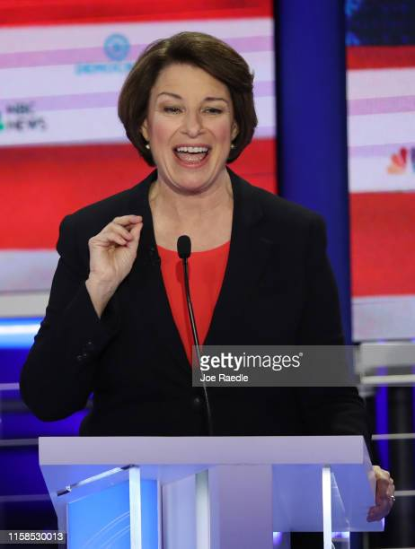 Sen Amy Klobuchar speaks during the first night of the Democratic presidential debate on June 26 2019 in Miami Florida A field of 20 Democratic...