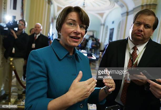 S Sen Amy Klobuchar speaks to members of the media after an election meeting of Senate Democrats to elect new leadership at the Capitol November 16...