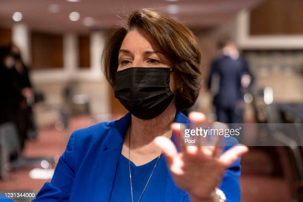 Sen. Amy Klobuchar speaks with reporters following a Senate Homeland Security and Governmental Affairs and Senate Rules and Administration joint...