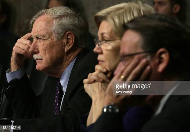 S Sen Angus King and Sen Elizabeth Warren listen during a hearing before Senate Armed Services Committee February 9 2017 on Capitol Hill in...