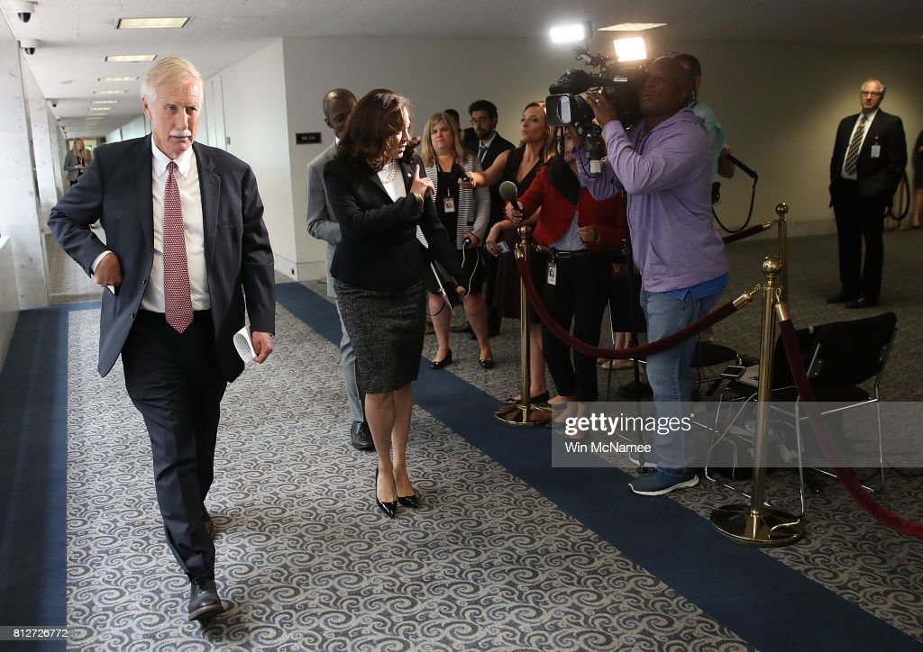 Sen. Angus King (L) (I-ME) and Sen. Kamala Harris (C) (D-CA) arrive for a closed committee meeting July 11, 2017 in Washington, DC. Ranking member of the committee, Sen. Mark Warner (D-VA), commented briefly on recent reports of Donald Trump Jr. meeting with a Russian lawyer in June 2016.