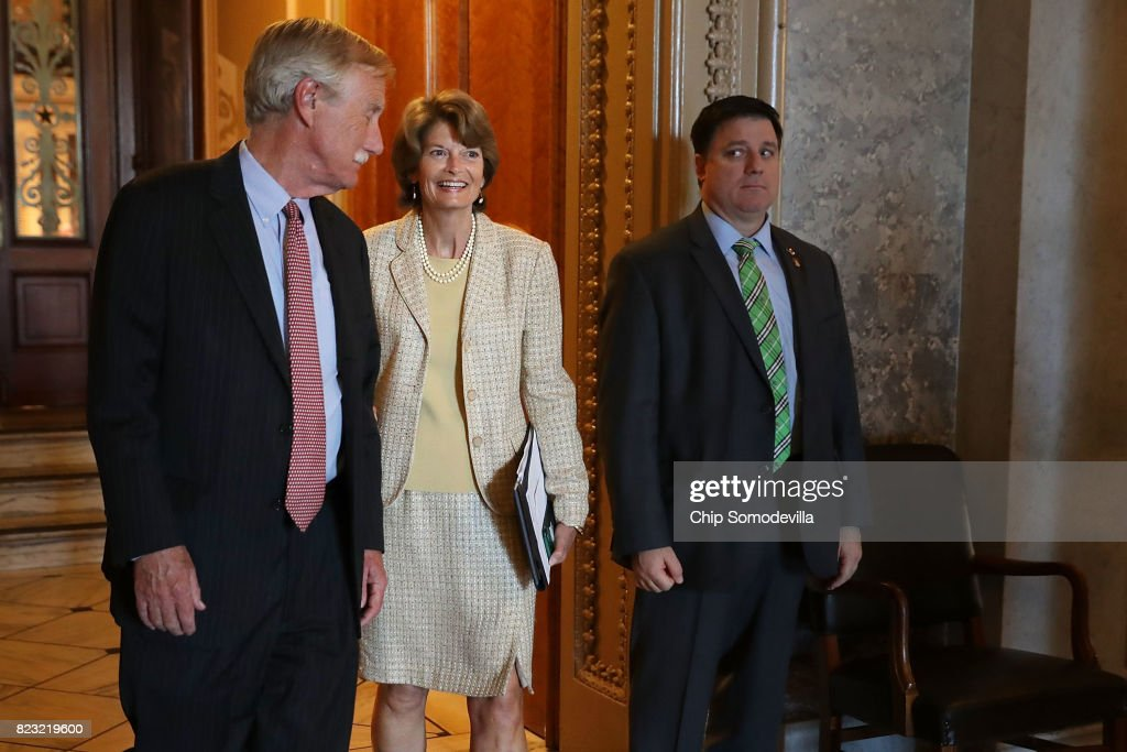 Sen. Angus King (I-ME) (L) and Sen. Lisa Murkowski (R-AK) leaves the Senate Chamber following votes in the U.S. Capitol July 26, 2017 in Washington, DC. GOP efforts to pass legislation to repeal and replace the Affordable Care Act, also known as Obamacare, were dealt setbacks when a mix of conservative and moderate Republican senators joined Democrats to oppose procedural measures on the bill.