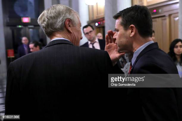 Sen Angus King and Sen Todd Young leave the US Capitol following early morning votes February 9 2018 in Washington DC Despite an attempt by Sen Rand...