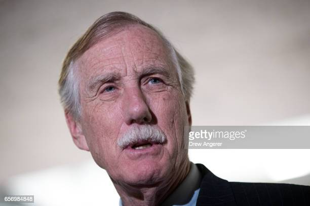 Sen Angus King answers questions from reporters following a closed briefing with the Senate Select Committee on Intelligence concerning Russian...