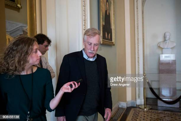 Sen Angus King exits the office of Senate Minority Leader Chuck Schumer on Capitol Hill January 21 2018 in Washington DC Lawmakers are convening for...