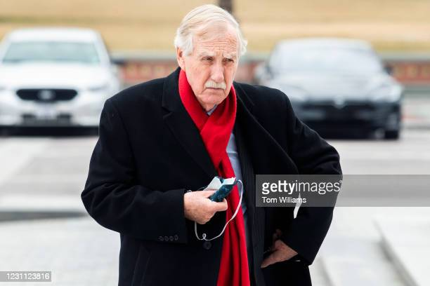 Sen. Angus King, I-Maine, arrives to the Capitol on the fourth day of former President Donald Trumps impeachment trial on Friday, February 12, 2021.