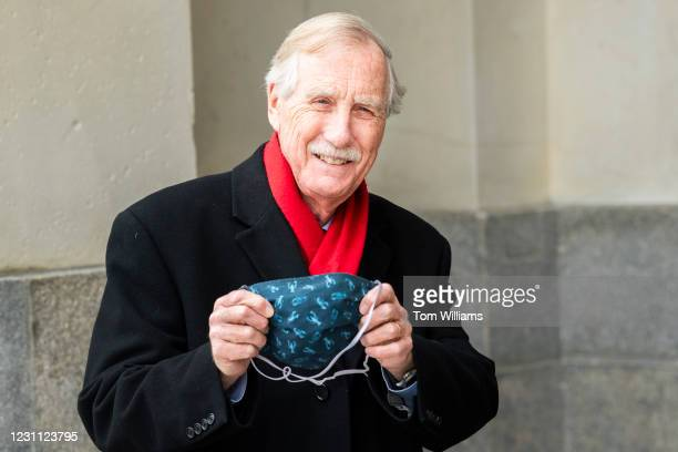 Sen. Angus King, I-Maine, shows off his lobster mask upon arriving to the Capitol on the fourth day of former President Donald Trumps impeachment...