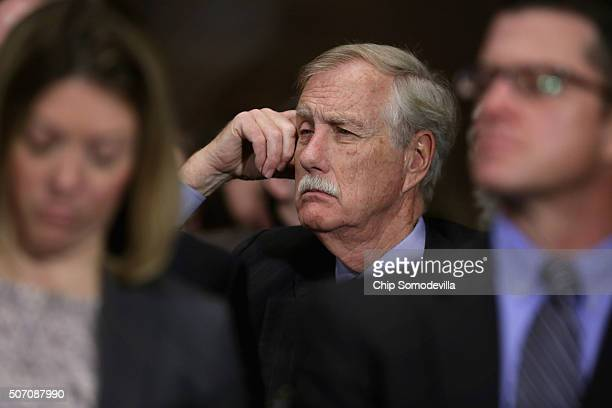 Sen Angus King joins the public audience during a Senate Judiciary Committee hearing about the recent spike in heroin and prescription drug abuse and...