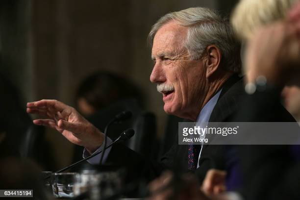 S Sen Angus King speaks during a hearing before Senate Armed Services Committee February 9 2017 on Capitol Hill in Washington DC The committee held a...