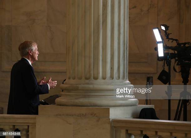 Sen Angus King speaks on a morning television news show about President Trump's firing yesterday of FBI Director James Comey on Capitol Hill May 10...