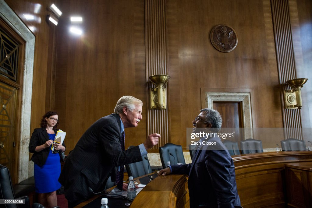 Sen. Angus King (I-ME) speaks to Oak Ridge National Laboratory Director for Science and Technology Thomas Zacharia following a Senate Energy Subcommittee hearing discussing cybersecurity threats to the U.S. electrical grid and technology advancements to maximize such threats on Capitol Hill on March 28, 2017 in Washington, D.C.
