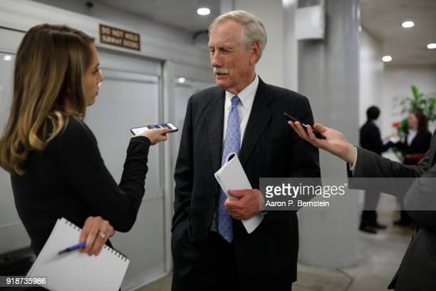 Sen Angus King speaks with reporters on Capitol Hill on February 15 2018 in Washington DC The Senate failed to pass an immigration fix raising...