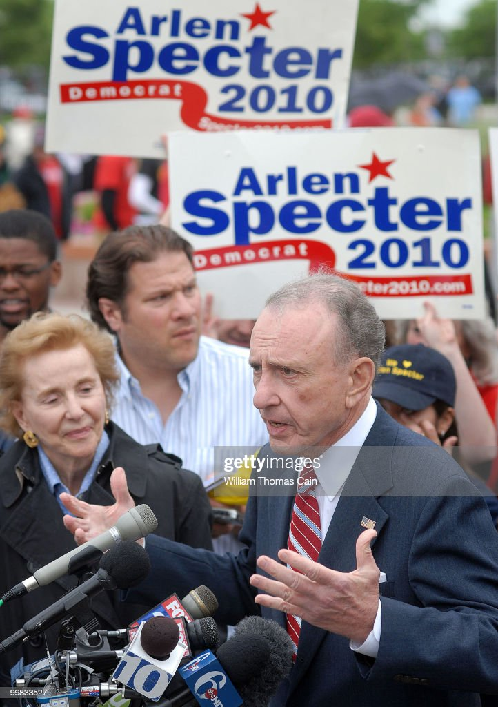 Arlen Specter Campaigns At Citizens Bank Park Before Phillies Game