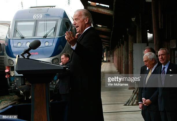 Sen. Arlen Specter and Sen. Frank Lautenberg look on as U.S. Vice President Joe Biden speaks at Union Station while announcing that Amtrak will...