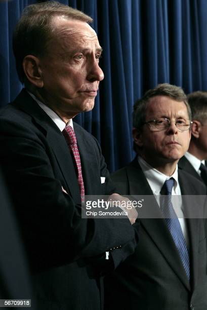 Sen Arlen Specter chairman of the US Senate Judiciary Committee and committee member Sen Mike DeWine hold a press conference January 31 2006 at the...